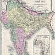 1855 Colton Map Of India Or Hindostan Art Print