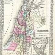1855 Colton Map Of Israel Palestine Or The Holy Land Art Print
