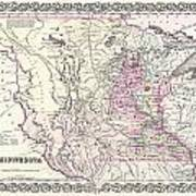1855 Colton Map Of Minnesota Art Print