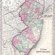 1855 Colton Map Of New Jersey Art Print