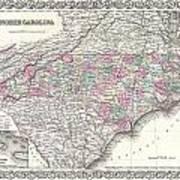 1855 Colton Map Of North Carolina Art Print