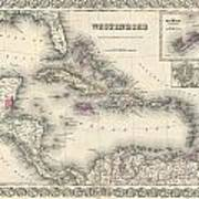 1855 Colton Map Of The West Indies Art Print
