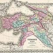 1855 Colton Map Of Turkey Iraq And Syria Art Print