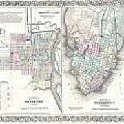 1855 Colton Plan Or Map Of Charleston South Carolina And Savannah Georgia Art Print