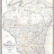 1856 Chapman Pocket Map Of Wisconsin Art Print
