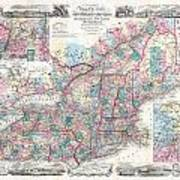 1856 Colton Pocket Map Of New England And New York Art Print