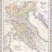 1856 Desilver Map Of Northern Italy Art Print
