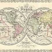 1856 Desilver Map Of The World  Art Print