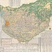 1856 Japanese Edo Period Woodblock Map Of Musashi Kuni Tokyo Or Edo Province Art Print