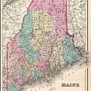 1857 Colton Map Of Maine Art Print