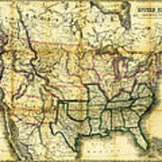 1861 United States Map Art Print