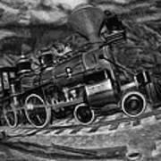 1862 Gov. Stanford First Locomotive Black And White Art Print