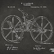1869 Velocipede Bicycle Patent Artwork - Gray Art Print by Nikki Marie Smith