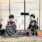 1870 Japanese Geisha In Drawing Room Art Print