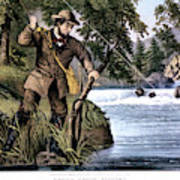 1870s Brook Trout Fishing - Currier & Art Print