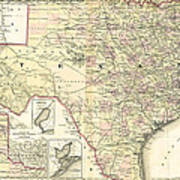 1873 Texas Map By Colton Art Print