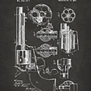 1875 Colt Peacemaker Revolver Patent Artwork - Gray Art Print