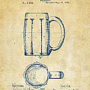 1876 Beer Mug Patent Artwork - Vintage Art Print