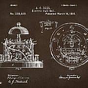 1881 Alexander Graham Bell Electric Call Bell Patent Espresso Art Print