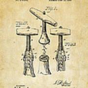 1883 Wine Corckscrew Patent Art - Vintage Black Art Print