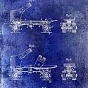 1885 Roller Skate Patent Drawing Blue Art Print
