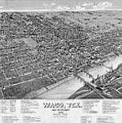 1886 Vintage Map Of Waco Texas Art Print