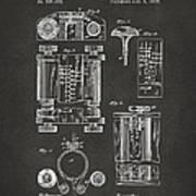 1889 First Computer Patent Gray Art Print
