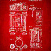 1889 First Computer Patent Red Art Print