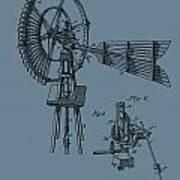 1889 Windmill On Blue Art Print