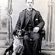 1890 Gentleman And His Dog Art Print by Historic Image
