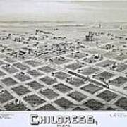 1890 Vintage Map Of Childress Texas Art Print