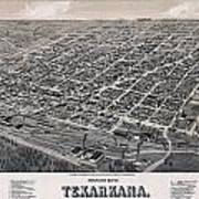 Vintage Perspective Map Of Texarkana Art Print