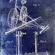 1891 Bicycle Patent Drawing Blue Art Print