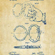 1891 Police Nippers Handcuffs Patent Artwork - Vintage Art Print