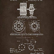 1891 Tesla Electro Magnetic Motor Patent Espresso Art Print