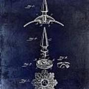 1892 Motorcycle Helmet Spike Patent Drawing Blue Art Print