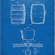 1898 Beer Keg Patent Artwork - Blueprint Art Print