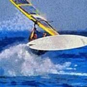 Windsurfing Art Print by George Atsametakis
