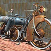 1900 Dual Rocket Steambike Art Print