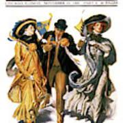 1900s Stylish Man With Two Women Art Print