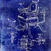 1901 Barber Chair Patent Drawing Blue Art Print