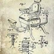 1901 Barber Chair Patent Drawing  Art Print