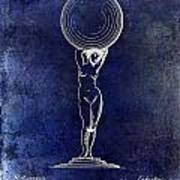 1901 Wine Glass Design Patent Blue Art Print