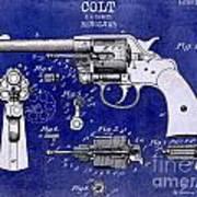 1903 Colt Revolver Patent Drawing Blue 2 Tone Art Print