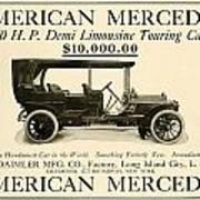 1907 - Daimler Manufacturing Company - American Mercedes Demi Limousine Automobile Advertisement Art Print
