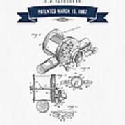 1907 Fishing Reel Patent Drawing - Navy Blue Art Print