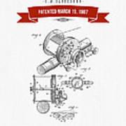 1907 Fishing Reel Patent Drawing - Red Art Print