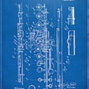 1908 Flute Patent - Blueprint Art Print