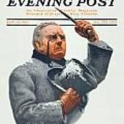 1910 - Saturday Evening Post Magazine Cover - February - Color Art Print