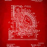 1910 Cash Register Patent Red Art Print